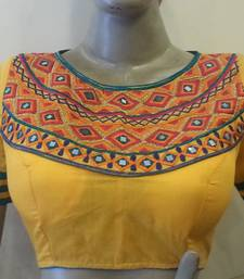 Yellow embroidered chanderi silk blouse