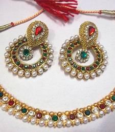 Maroon & Green Pearl Polki Necklace Set