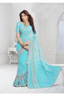 3ce643476186c Sky blue embroidered chiffon saree with blouse