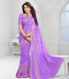 Buy Purple embroidered chiffon saree with blouse women-ethnic-wear online