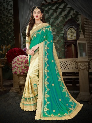 Manohari Green Embroidered Art Silk Saree with Blouse