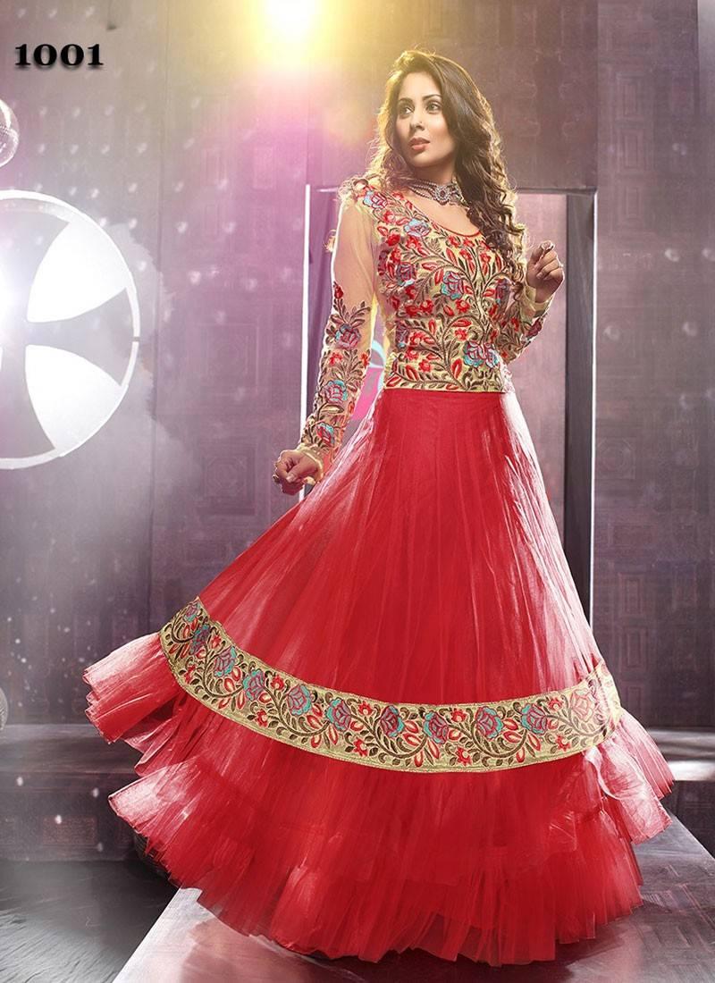 30d1ff6755 Red embroidered Net- Georgette semi-stitched salwar eith dupatta - V ...