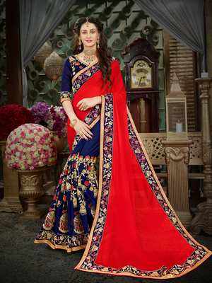 Manohari Red Embroidered Georgette Saree with Blouse