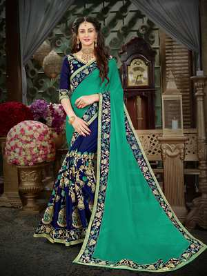Manohari Green Embroidered Georgette Saree with Blouse
