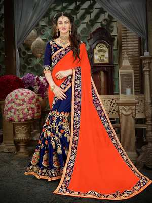 Manohari Orange Embroidered Georgette Saree with Blouse