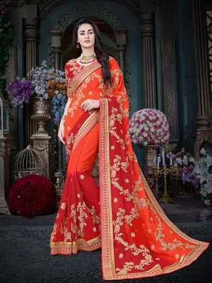 Manohari Orange Embroidered Georgette Saree with Blouse