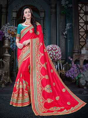 Manohari Red Embroidered Art Silk Saree with Blouse