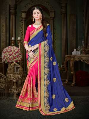 Manohari Blue Embroidered Art Silk Saree with Blouse
