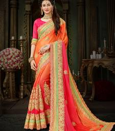 Manohari Orange Chiffon Saree with Blouse