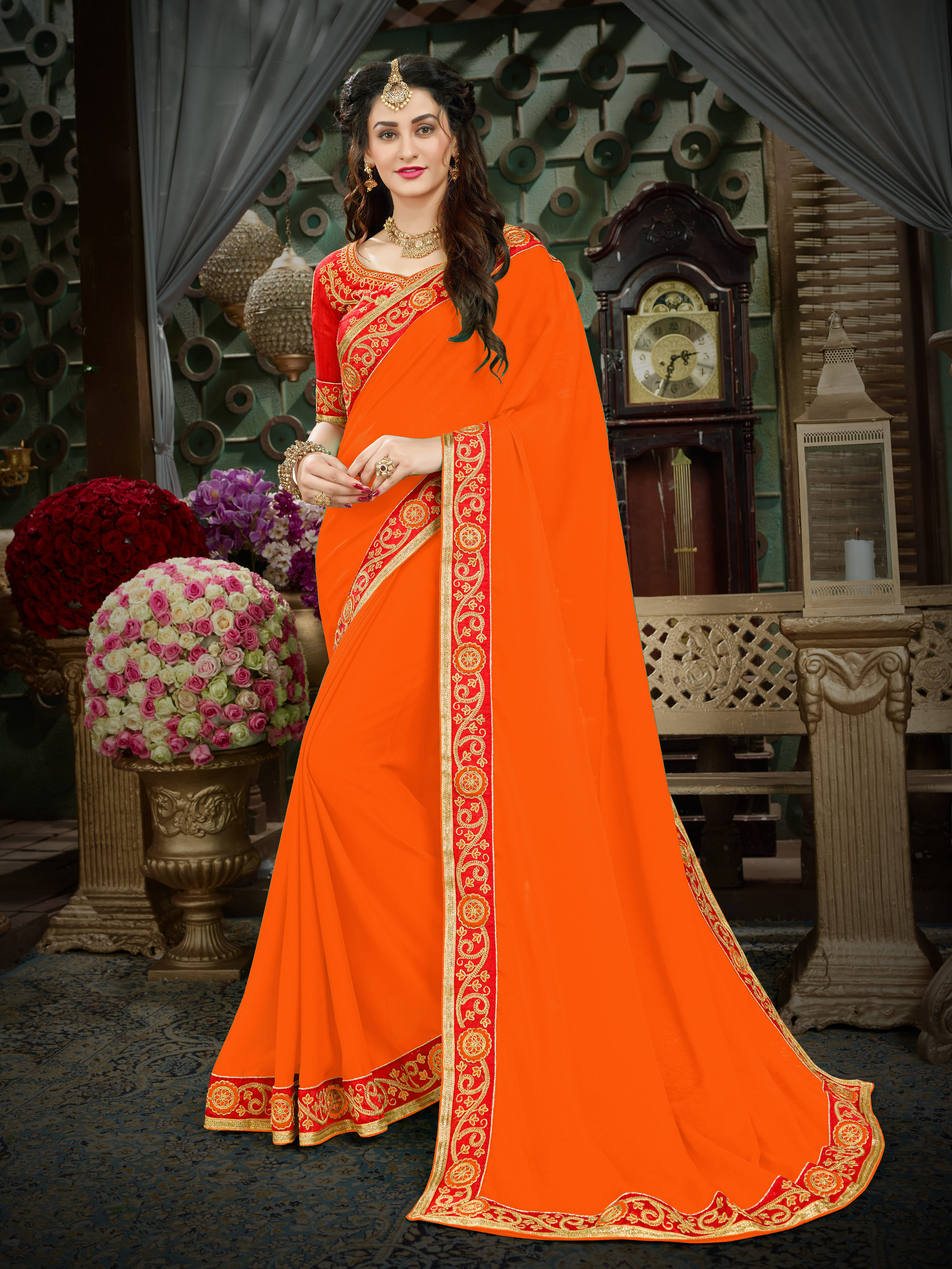 809d706fe9 Manohari Orange Embroidered Georgette Saree with Blouse - Onlinefayda.com -  2631904