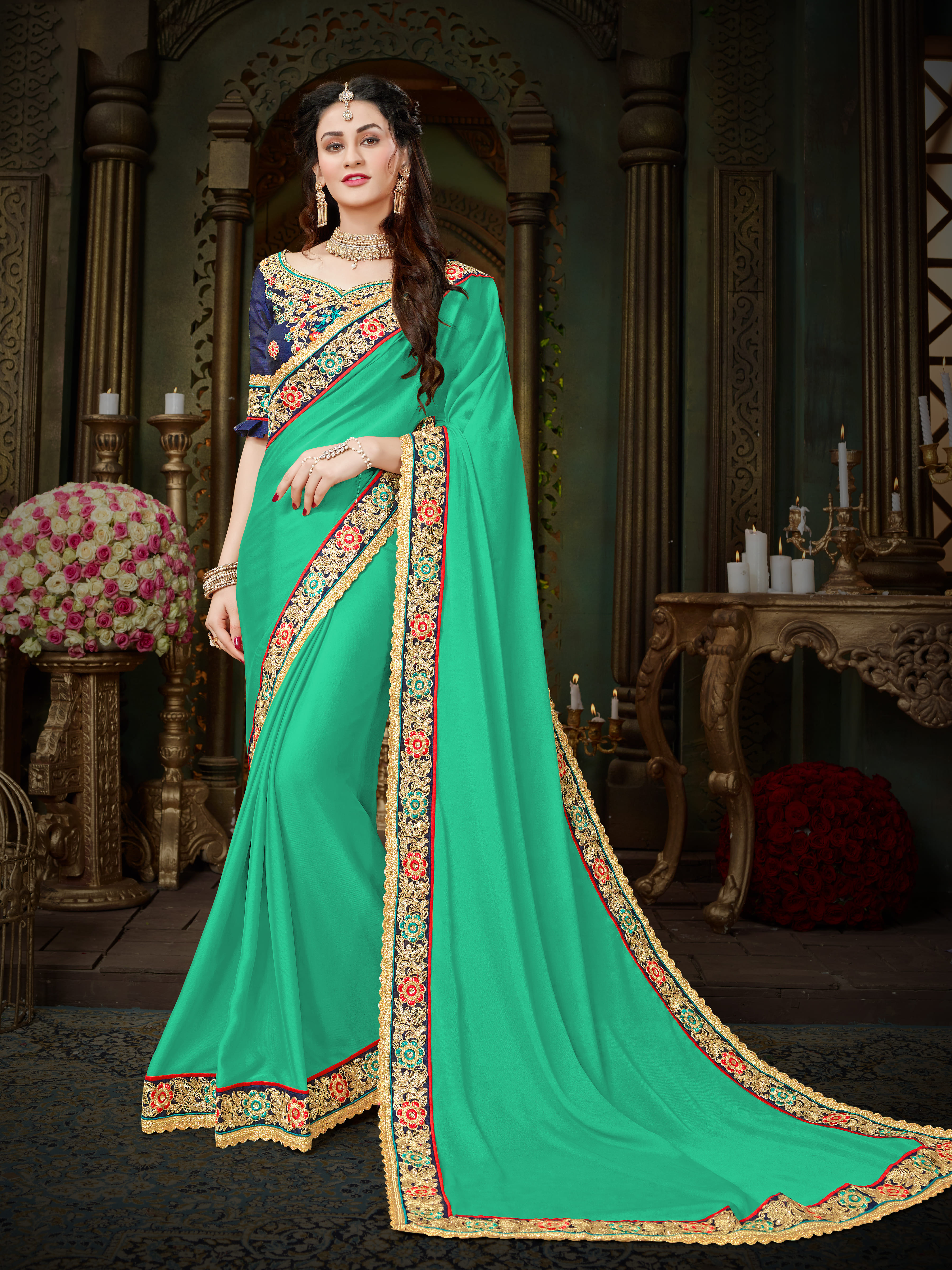 2f68abf5d1459b Manohari Turquoise Embroidered Georgette Saree with Blouse -  Onlinefayda.com - 2631906