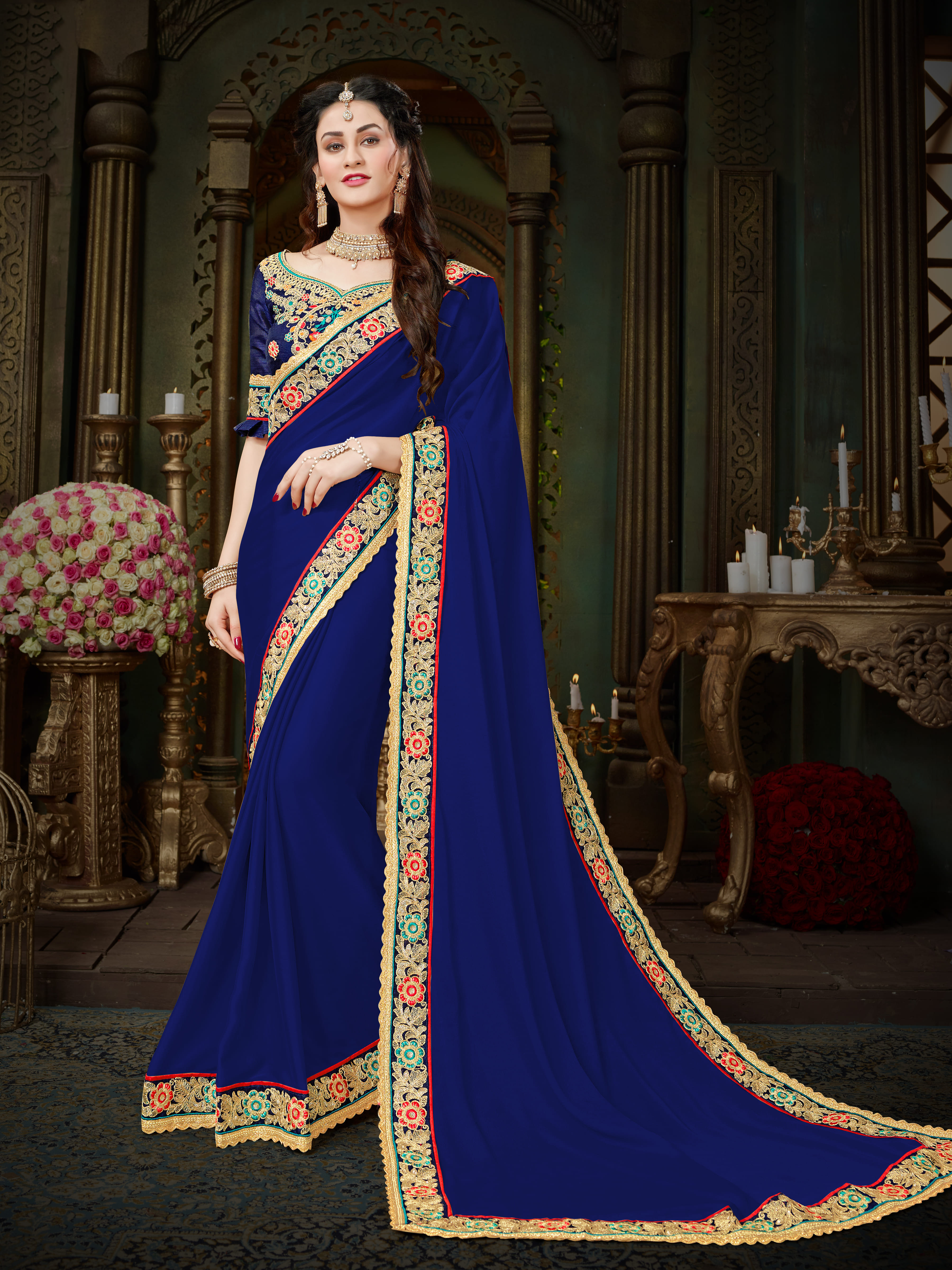bdbe896eaa Manohari Blue Embroidered Georgette Saree with Blouse - Onlinefayda.com -  2631907