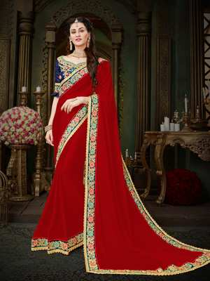 Manohari Maroon Embroidered Georgette Saree with Blouse