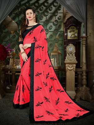 Manohari Magenta Embroidered Georgette Saree with Blouse