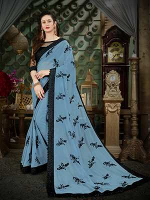 Manohari Grey Embroidered Georgette Saree with Blouse