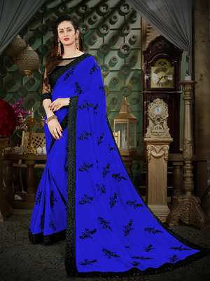 Manohari Blue Embroidered Georgette Saree with Blouse