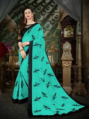 Manohari Turquoise Embroidered Georgette Saree with Blouse