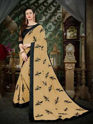Manohari Beige Embroidered Georgette Saree with Blouse