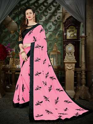 Manohari Pink Embroidered Georgette Saree with Blouse