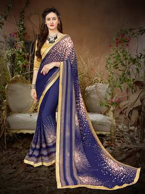 Sutram Navy Printed Georgette Saree with Blouse