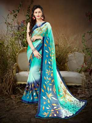 Sutram Multicoloured Printed Georgette Saree with Blouse