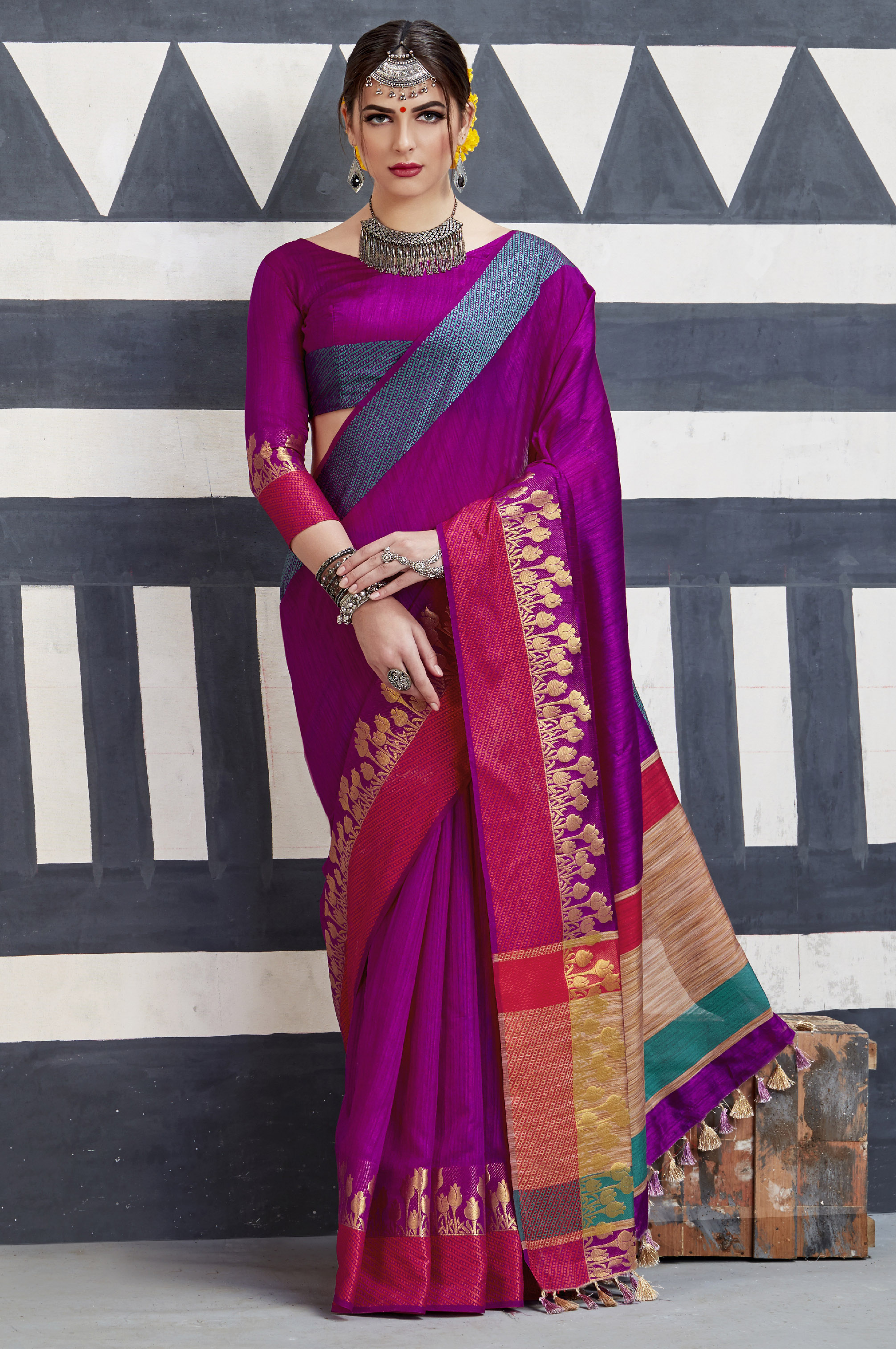 f8f7f4e579a88e Rani pink woven art silk saree with blouse - Monjolika - 2632355