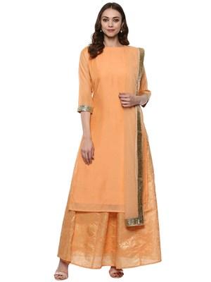 Orange plain chanderi kurti