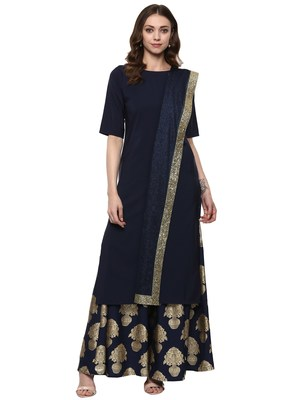 Blue plain crepe kurti with Skirt & Dupatta