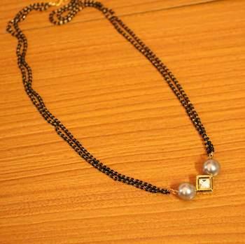 Grey Pearl & Kundan Gold Plated Mangalsutra