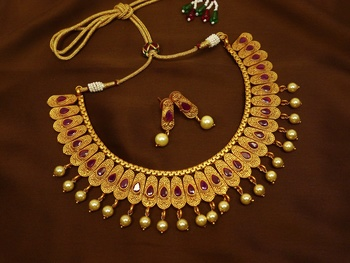 Ruby brass matte finish temple south indian necklace earring jewellery set for wedding festival