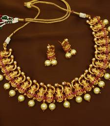 5419b42d446 Ruby brass matte finish temple south indian necklace earring jewellery set  for wedding festival. Shop Now