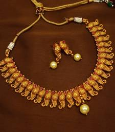 Buy Ruby brass matte finish temple south indian necklace earring jewellery set for wedding festival  south-indian-jewellery online