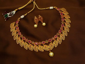 Ruby green brass matte finish temple south indian necklace earring jewellery set for wedding festival