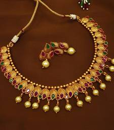 080314d7f Ruby green brass matte finish temple south indian necklace earring jewellery  set for wedding festival