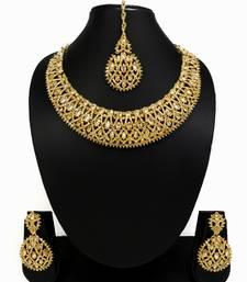 Buy Designer golden ad zircon necklace set with maang tikka necklace-set online