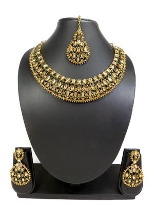 Designer green ad zircon necklace set with maang tikka