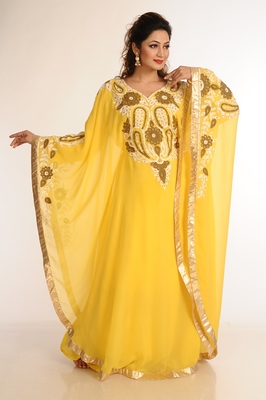 Yellow Georgette Kaftan With Zari Work