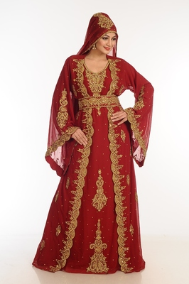 Maroon Georgette Kaftan With Zari Work