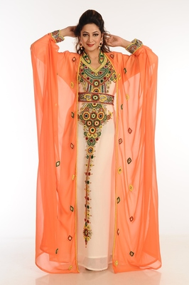 Inner cream jacket tomato georgette kaftan with zari work