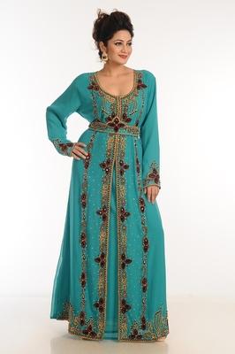Turquoise Georgette Kaftan With Zari Work