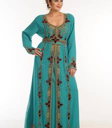 Turquoise Georgette Kaftan With Zari Work