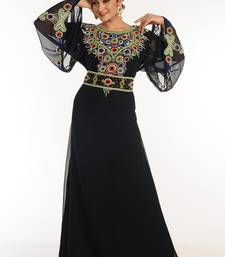 Black georgette kaftan with zari work