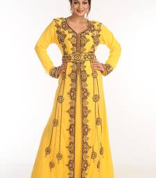 Yellow Georgette Kaftan With Zari Work