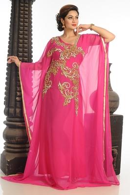 Pink Georgette Kaftan With Zari Work