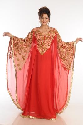 Red georgette kaftan with zari work