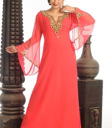 Peach Georgette Kaftan With Zari Work