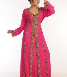 Pink Georgette Kaftan With Zari Work