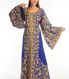 Royal Blue Georgette Kaftan With Zari Work
