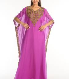 Purple georgette kaftan with zari work