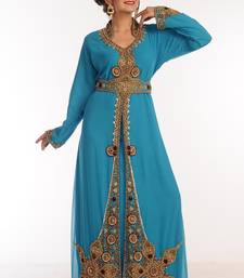 Sea Green Georgette Kaftan With Zari Work